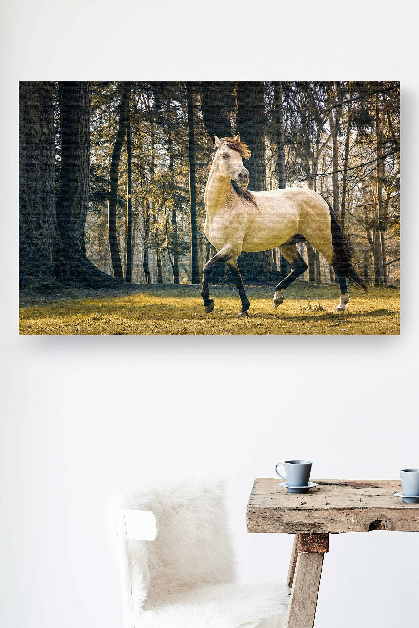 Horse prancing in the woods - Fine Art Equine Photography